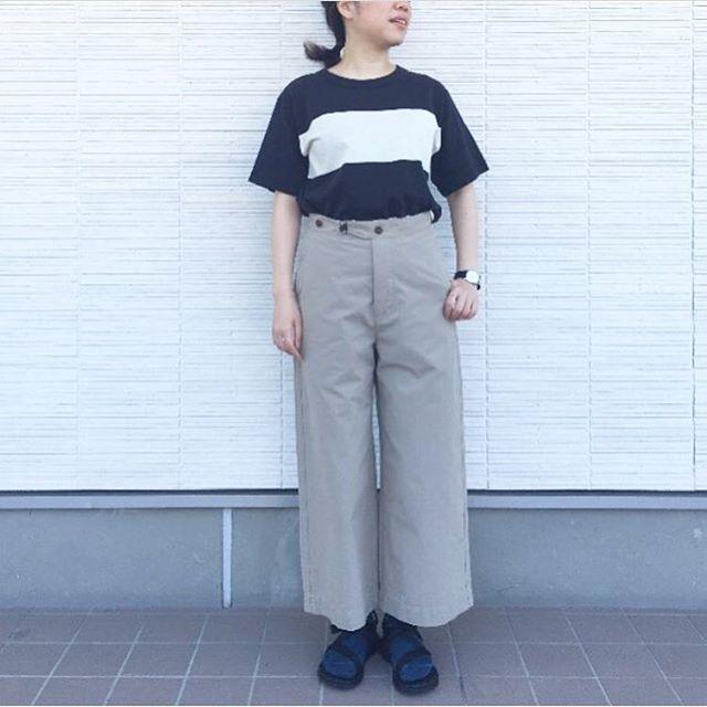 .MHL.panel stripe cotton jerseydense cotton poplin.コットンリネンのパネルストライプ。ドライで気持ち良い肌触りのトラウザー。涼しいコンビ。.#MHL.#panelstripe#tshirt #densecotton#trousers#hausmastue #島根 #松江