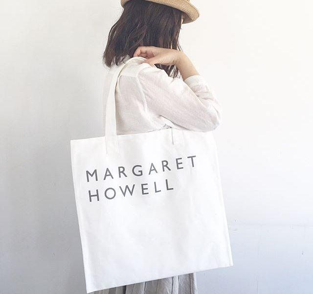 MARGARETHOWELLHOUSEHOLD GOODS.cotton logo bagcolor ホワイト、カーキ、ブラック.定番のコットンロゴバッグもひさしぶりの入荷です︎.くわしくは@haus_howell へ.#margarethowell #householdgoods #cottonlogobag#logobag#hausmatsue #島根 #松江