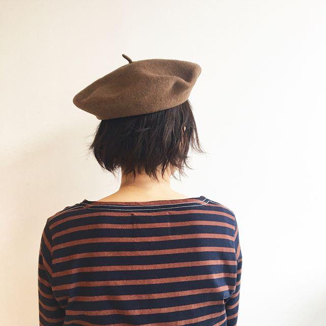 .9月だものそろそろベレーもかぶりたい。.#MHL.#wool felt#béret#ベレー帽 #naval stripe jersey #border#しましま#秋#autumn#hausmatsue #島根#松江