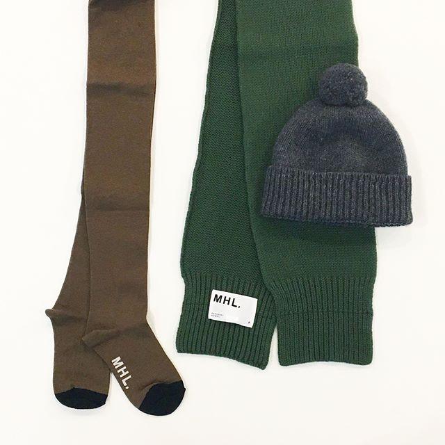 .MHL.冬の小物たちもいろいろ届きました。. .本日も台風と選挙の最中たくさんのご来店ありがとうございます︎︎.台風がすこしでも静かに過ぎ去りますように。.あわせてこちらもどうぞ︎@haus_howell ...#MHL.#British merino#chunky bobble hat#chunky scarf#wool cotton tights#knitcap#muffler#tights#hausmatsue #島根#松江