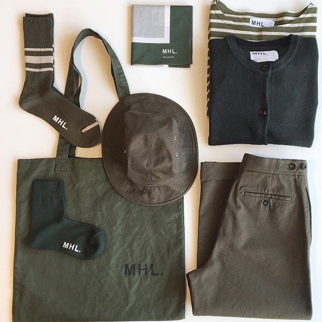 .MHL.シーズンカラーのダークグリーンいろんなアイテムで入荷中です。.#MHL. #darkgreen#green#tote bag#trousers#scarf#socks#hat#rasox #hausmatsue #島根#松江