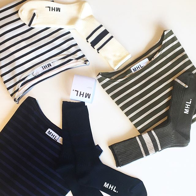 .色合わせがくつしたと連動しているNAVAL STRIPE JERSEY。肌触りがとにかく気持ちいいカットソーです。.あわせてこちらもどうぞ︎@haus_howell .#MHL.#NAVAL STRIPE JERSEY#socks#くつした#ロンT#しましま#hausmatsue #島根#松江