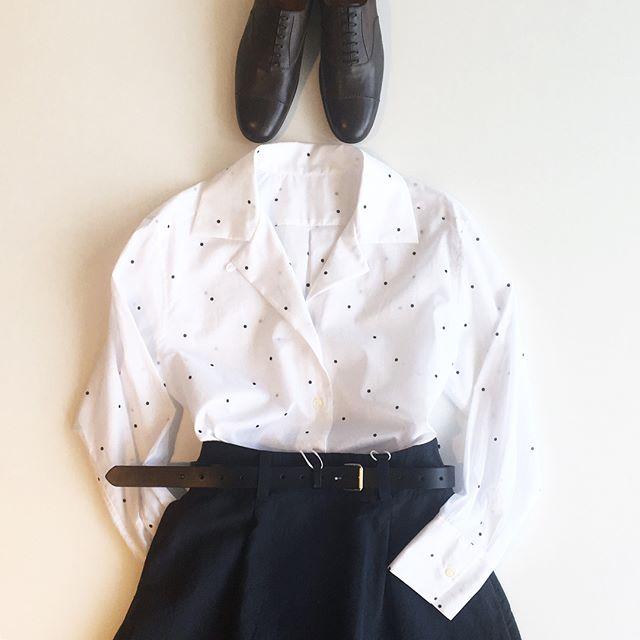 .ハウエルの夏の定番のspot print batiste.クラシカルなbig rever shirt。.あわせてこちらもどうぞ@haus_howell .#margarethowell #マーガレットハウエル #hausmatsue #島根#松江