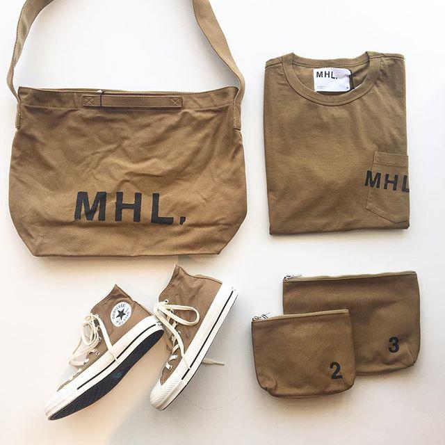 .MHL.new line up!.newcolorのTan日に焼けて褪せたようなブラウン.定番のロゴショルダーTシャツ、オールスターなどたくさん届きました.#MHL.#heavy cotton canvas#MHL all star#converse #オールスター#ハイカット#sneaker#printed cotton jersey#logotshirt #ロゴT#hausmatsue #島根#松江