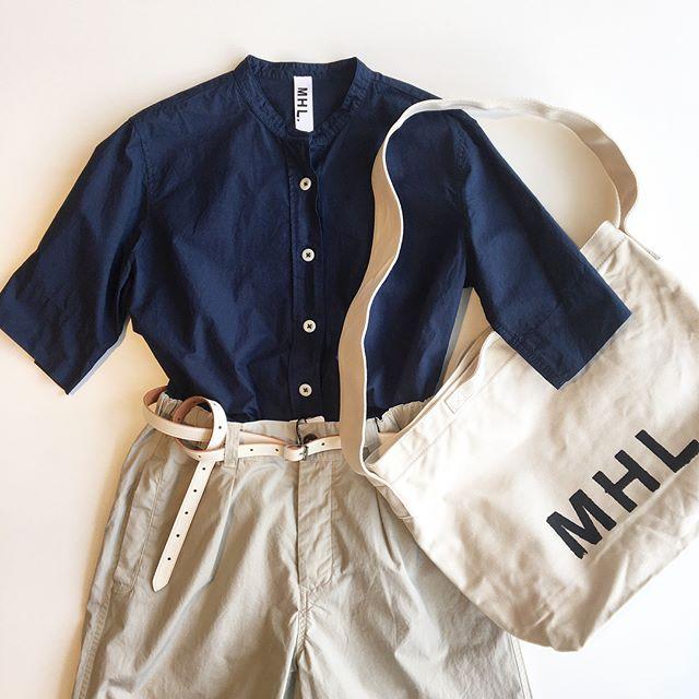 .連日30℃越えの真夏のような日々に着たいコットンとラミーの混紡糸のドライなシャツ.あわせてこちらもどうぞ︎ @haus_howell .#MHL.#COTTON RAMIE POPLIN#ramie#shirt#製品染め #hausmatsue #島根#松江
