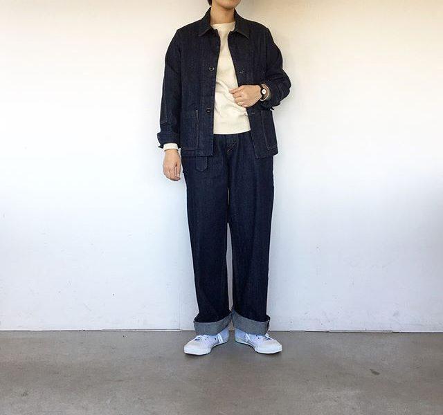 .MHLCANTON DENIM.今年の秋冬のジャケットはコンパクトな着丈ボトムもリラックスしたサイズ感。.#MHL#cantonoveralls #CANTON#jacket#trousers#denim#indigo#hausmatsue #島根#松江