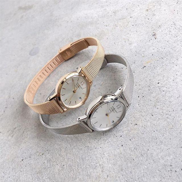 .MESH BAND DATE WATCHダイアルに日付のあるメッシュバンドの時計。再入荷です。アクセサリーのように手元を華奢に魅せてくれます。color ゴールド、シルバー#margarethowell #mesh band date watch#Watch#hausmatsue #島根#松江